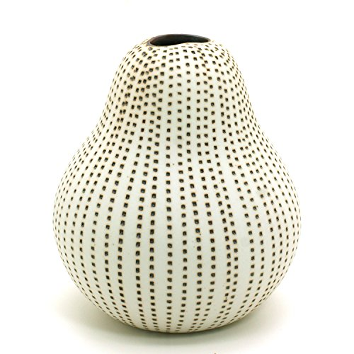 Terra Cotta Pear - BloomyLife Handmade White Porcelain Ceramic Flower Pots / Planter Pots Gugu Pears: Brown Dotted