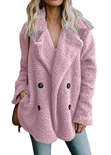 Shawhuwa Women's Oversized Open Front Button Draped Pocket Cardigan Fuzzy Coat Size XXL (Fit US 20 - US 22) Pink (Front Button Fur Jacket)