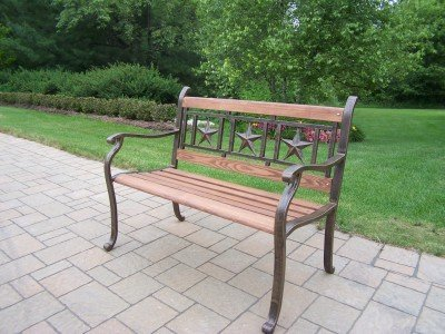 Oakland Living Three Stars Bench, Antique Bronze 6142-AB