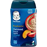 Gerber Baby Cereal Probiotic Oatmeal & Peach Apple Baby Cereal Canister, 8 oz