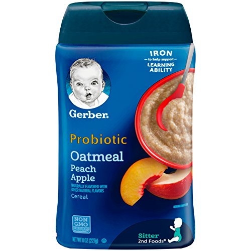 Gerber Baby Cereal Probiotic Oatmeal & Peach Apple Baby Cereal Canister, 8 - Gerber Oatmeal