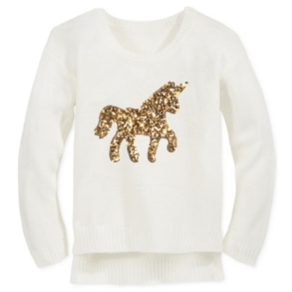 Big Girls Ivory Long Sleeve Gold Sequin Unicorn Sweater