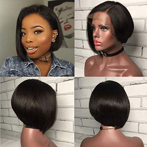 Pixie Cut Wig Straight Short Bob Human Hair Lace Front Wigs Pre Plucked 150% Density Lace Front Human Hair Bob Wigs for Women 6inch