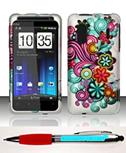 Accessory Factory(TM) Bundle (the item, 2in1 Stylus Point Pen) For HTC Evo Design 4G Kingdom (Sprint Boost) Rubberized Case Cover Protector - Purple Blue Flowers