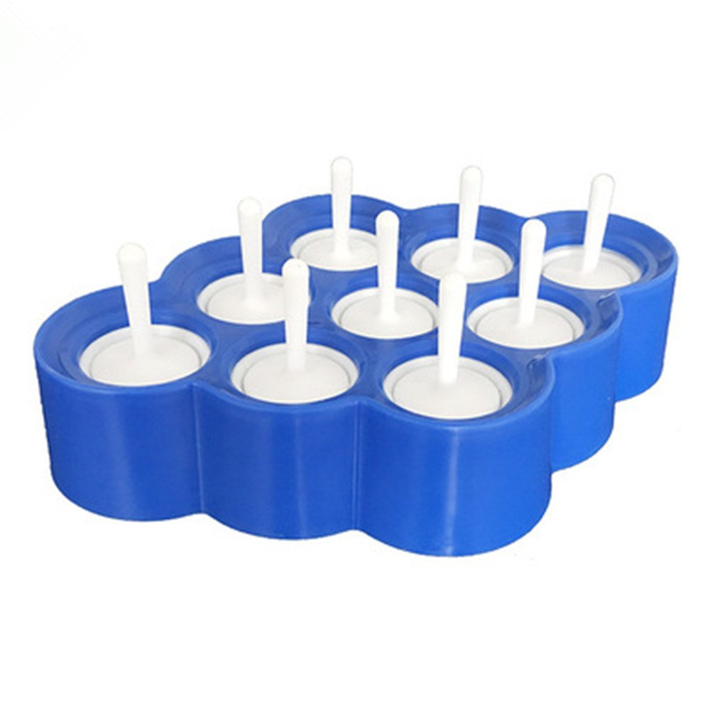 Wonderful Tools for Party Blue 9 x Mini Silicone Ice Cream Moulds Popsicle Molds BPA-Free Ice Pop//Stick Ice Cream//Lolly Maker Tool Set