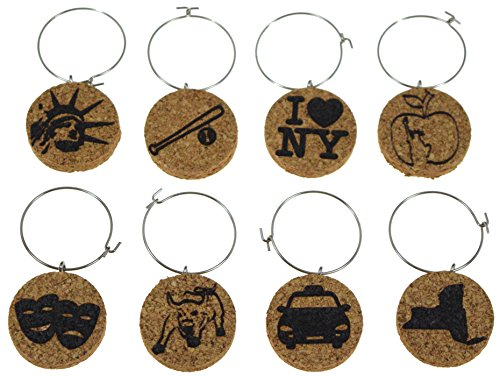 Cork Wine Glass Charms (20+ Unique Designs) - Set of 8 - New York Inspired Designs: Theatre Masks, Charging Bull, Cab, Statue of Liberty, I Love New York, etc. - Tags to Mark Your Drink (New York) (Wine Gifts Nyc)