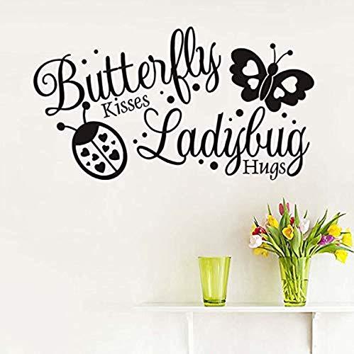 Butterfly Kiss Ladybug Hugging Art Self-Adhesive Wallpaper Baby Room Home Decor Wall Decals Decor Vinyl Sticker Q10630