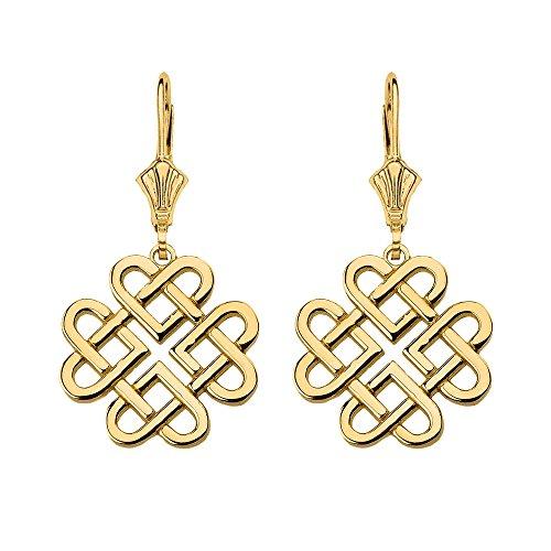 Women's 10k Yellow Gold Endless Celtic Knot Heart Infinity Dangle Earrings