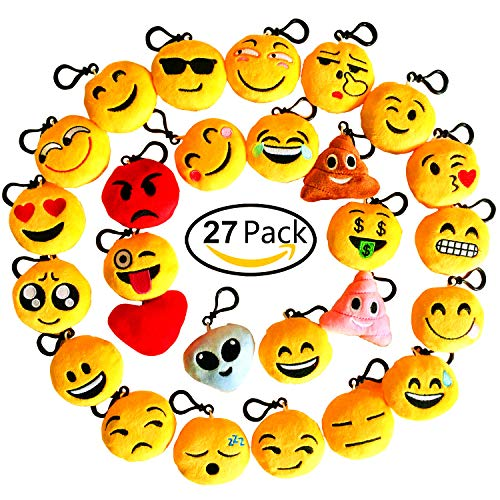 Time-killer Emoji Keychain 27 Pack Birthday Party Supplies Favors Gift for Kids Students Christmas (Pack of 27) -