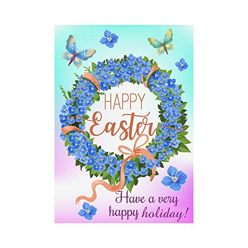 Cheap InterestPrint Easter Wreath Spring Flowers Polyester Garden Flag Outdoor Banner 28 x 40 inch, Butterfly Decorative Large House Flags for Party Yard Home Decor