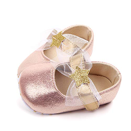 Csfry Baby Girls Mary Jane Flats Wedding Princess Shoes Gold
