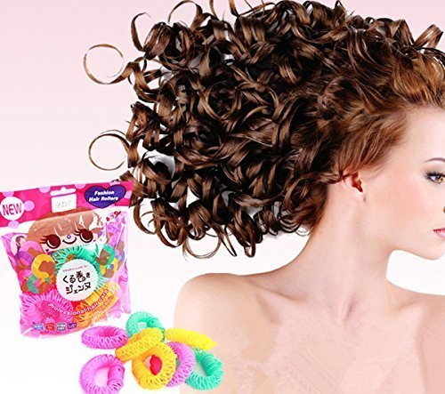 1Pack(8pcs) New Magic Doughnut Donut Plastic Hair Curler Curl Ringlets Wave Hairdressing Care Hairstyle DIY Bendy Hair Styling Roller Curler Spiral Curls Tool