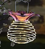 Plow & Hearth Hanging Spring-Coil Solar Lantern with Flower Top, 11 dia. x 15 H