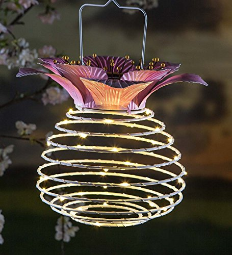 - Plow & Hearth Hanging Spring-Coil Solar Flower Top Lantern, White and Pink