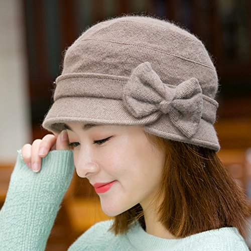 Syksdy Madam Autumn and Winter Bow Basin Cap Wool Knitted Hat Hat Beret Light Coffee Color