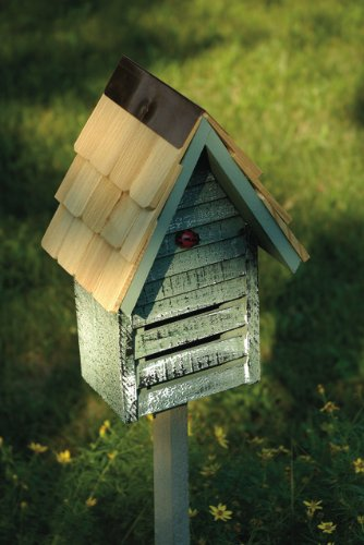 White Weathered Finish Ladybug House With Garden Stake – Made in the USA by In the Garden and More