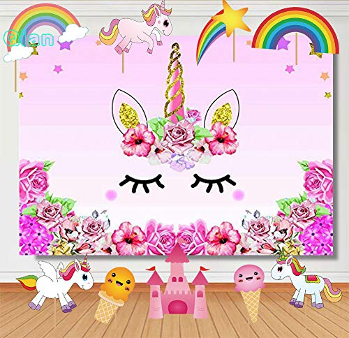 (Qian 7x5ft Vinyl Unicorn Themed Photography Backdrop Kids Birthday Party Decoration Photo Watercolor Flowers Rose Background Baby Shower Dessert Table Studio Party DIY Props Banner)