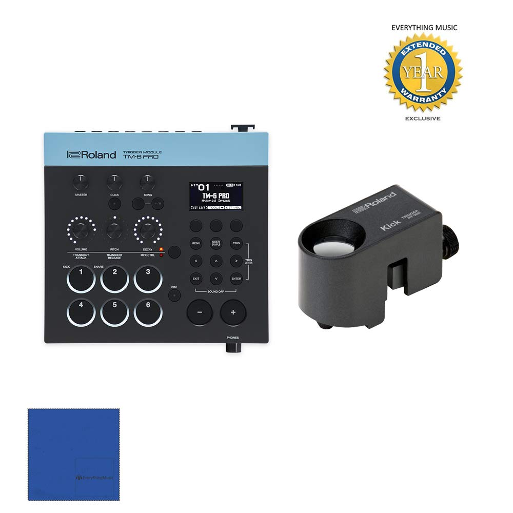 Roland TM6PRO Trigger Module with RT-30K Acoustic Drum Trigger Bundle with 1 Year Free Extended WarrantyandMicrofiber