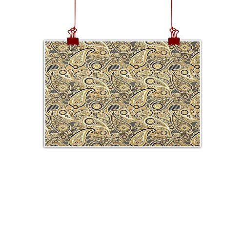 - Artwork Office Home Decoration Earth Tones,Iranian Pattern Based on Traditional Asian Paisley Welsh Pears, Sand Brown Black Beige 20