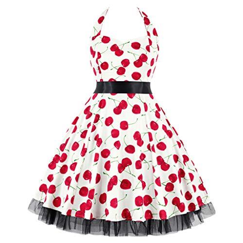 Elegant Women's Dresses Vintage Polka Dot Halter Dress 1950s Floral Sping Retro Rockabilly Cocktail Swing Tea Dresses Watermelon Red