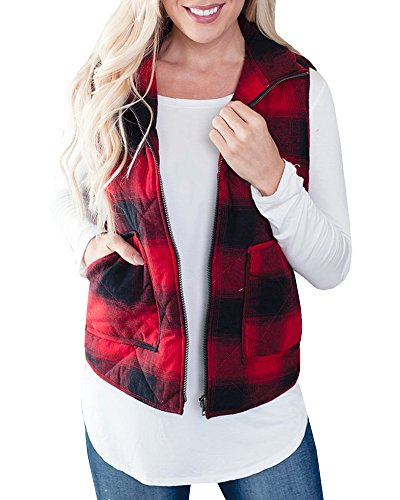 Doubleal Red Puffer Vest Womens Cotton Plaid Quilted Cute Puff Lined Gilet (Cotton Plaid Vest)