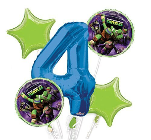 (Ninja Turtles Balloon Bouquet 4th Birthday 5 pcs - Party Supplies )