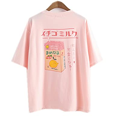375e92648d5207 Himifashion Women Girls Summer Kawaii Fruit Juice Cotton T-Shirt Japanese  Style Little Fresh (Pink): Amazon.co.uk: Clothing