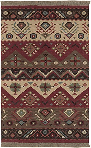 Surya Jewel Tone JT-1033 Flatweave Hand Woven 100% Wool Maroon 2'6'' x 8' Southwest Runner by Surya