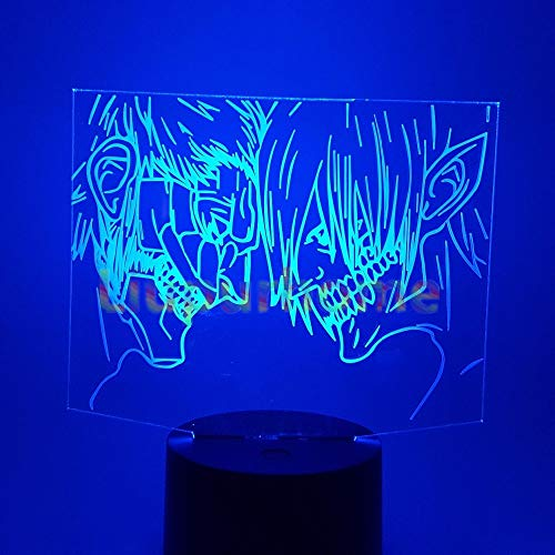 3D Novelty LED Attack on Titan Eren Nightlight Shingeki no Kyojin Home Decor Table Lamp 3D Visual 7 Color Night Light 3D47