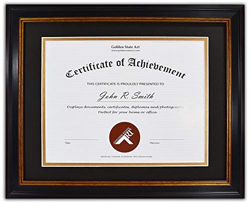 Golden State Art, 11x14 Frame for 8.5x11 Diploma/Certificate, Black Gold & Burgundy color. Includes Black Over Gold Double Mat and Real Glass (Best College For Distance Mba)