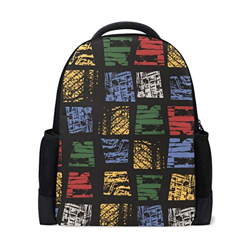 MUOOUM Geometry Block Line Math Colorful Polyester Backpack School Book Bag Travel Daypack -