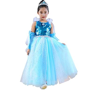 girl sequin princess anna elsa tutu dress halloween costume cosplay