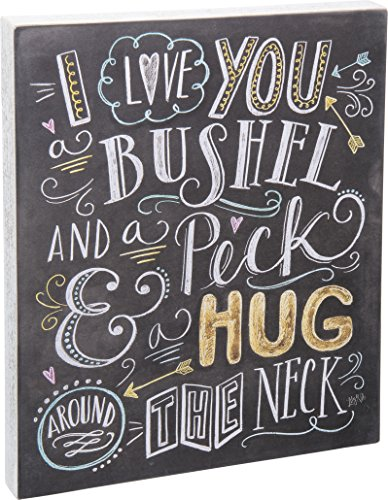 Primitives by Kathy I Love You A Bushel and A Peck Chalk Sign - love wall art decor