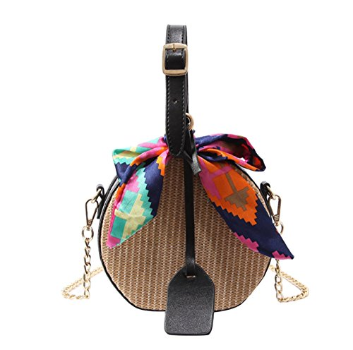Vintage Straw Bags - Womens Straw Hand woven Convertible Crossbody Shoulder Bag Vintage Round Summer Mini Tote with scarf (Black) sweet Natural basket