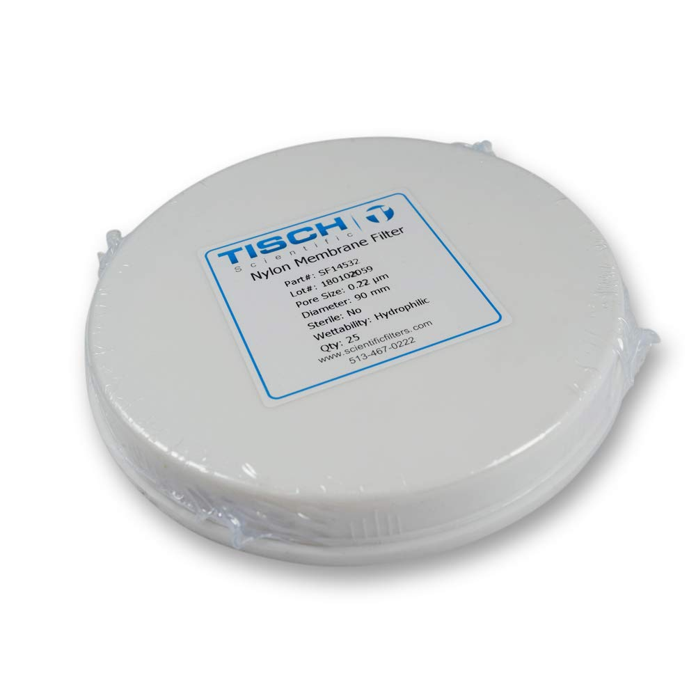 Tisch Brand SF14532 Nylon Membrane Filter, 0.22um, 90mm 1/pk/100 per Pack | Wettability: Hydrophilic | Maximum Operating Temperature: 100 Degrees C | Flow Rate: 2.5 (ml/min@10psi) | by Tisch Scientific