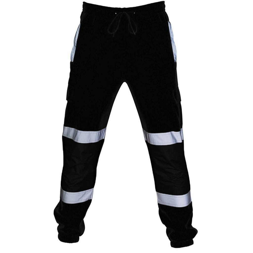Jiayit Mens Reflective High Visibility Pants Cycling Windproof Fold Casual Pocket Trouser