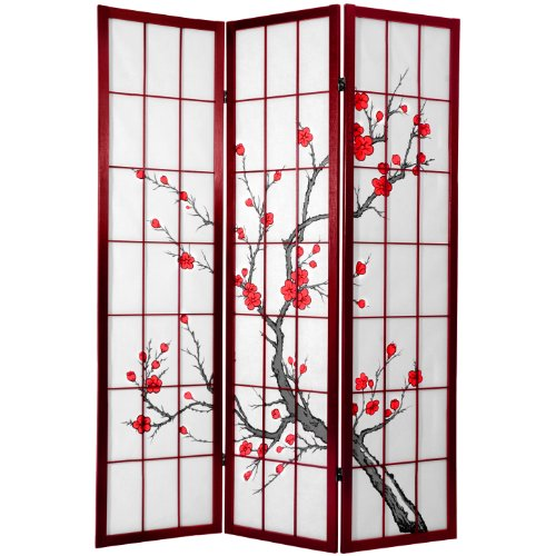 Frame Rosewood Handsome (Oriental Furniture 6 ft. Tall Cherry Blossom Shoji Screen Rosewood)