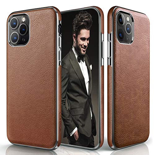 LOHASIC iPhone 11 Pro Max Case, Slim Thin Luxury PU Leather Non Slip Soft Grip Flexible Shockproof Cases Compatible with Apple iPhone 11 Pro Max New Version 2019 - Brown