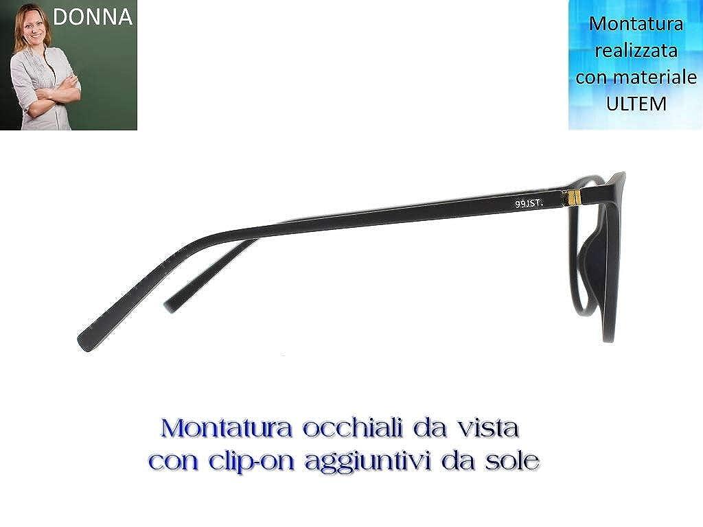 Ultem u-241 Montatura per occhiali da vista M02 Nero opaco DONNA sole polarizzati, drive//relax e luce blu 4 CLIPON magnetici GOCCIA con filtri by THEMA Linea 99 JOHN ST NYC