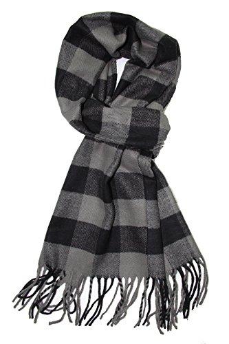 Long Striped Scarf (Achillea Classic Plaid Check Cashmere Feel Winter Scarf (Black Grey Buffalo))