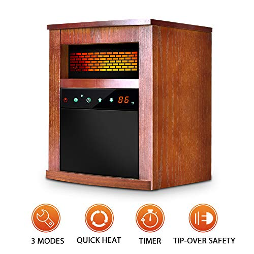 Air Choice 1500W Portable Space Heater with Remote &Timer, Function 3 Modes with Intelligent Programmable Thermostat, Overheat & Tip-Over Shutoff Wood Cabinet, M, Brown