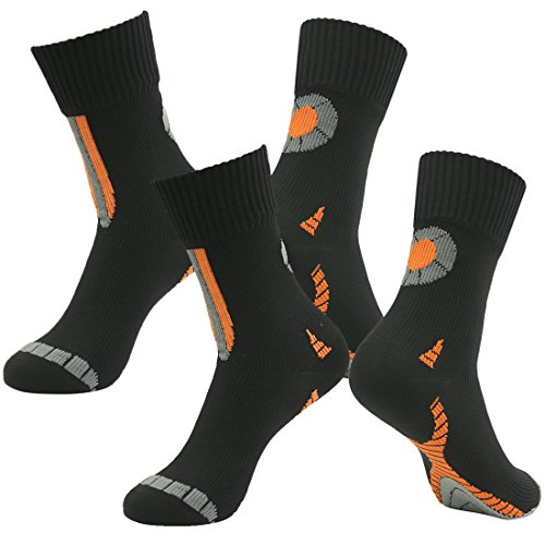 RANDY SUN Waterproof Breathable Socks, Men's 2 Pairs Performance Top Colorful Trail Socks Novelty Socks Black ()