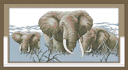 (Zamtac Holy Elephants Patterns Cross Stitch Kits for Embroidery Crafts Needlepoint Set 11CT 14CT Stamped Fabric Stitching - (Cross Stitch Fabric CT Number: 14CT Stamped Product))
