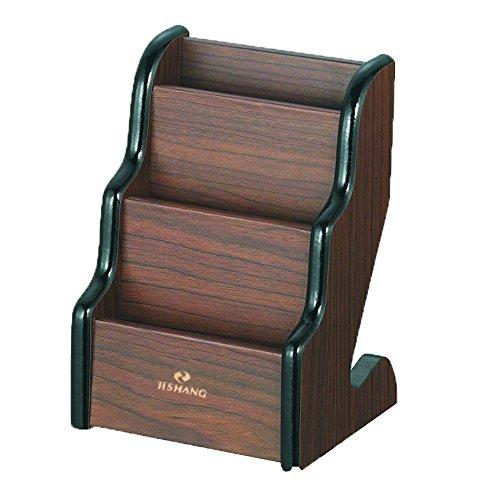 AUCH 3 Pocket Fashion/High-grade/Reusable Wooden Business/ Name Card Holder/Rack/Case Desktop Display Stands