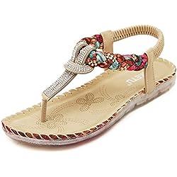 Women's Summer Sandals Bohemian Diamond Flat Drving Shoes Flip Flops Apricot 9