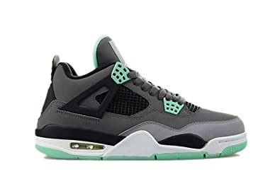Nike Mens Air Jordan 4 Retro Dark Grey/Green Glow-Cement Grey Leather  Basketball