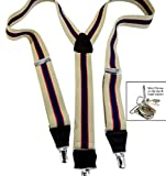 Hold-Ups Khaki and Navy Striped Suspenders Y-back and Patented Chrome No-slip Clips
