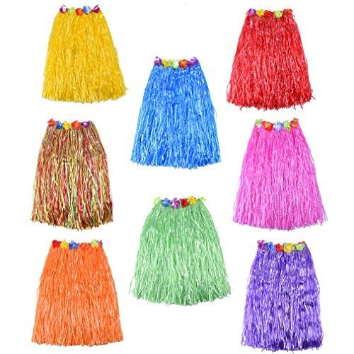 Straw Skirt (MICHLEY 8pcs colorful Hawaiian Skirt Hula Grass Straw Skirt 24