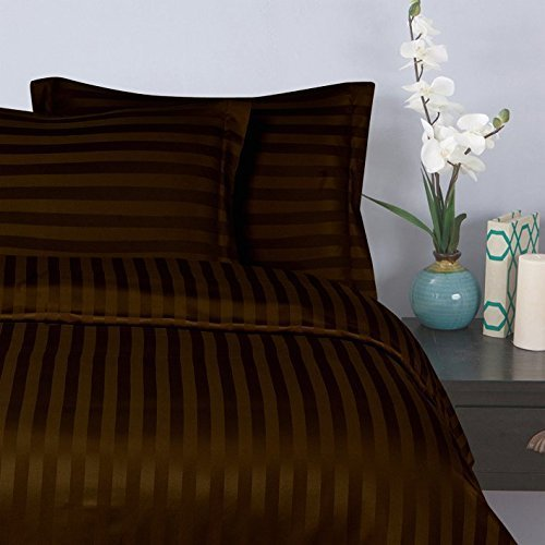 Elegant Comfort Wrinkle & Fade Resistant 1500 Thread Count Egyptian Quality Damask STRIPES Luxurious Silky Soft 3pc Duvet Cover Set, King/Cal-King, Chocolate Brown