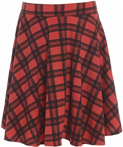 PurpleHanger Women's Tartan Check Skater Skirt Plus Size Red Size ()